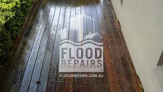 wet timber floor
