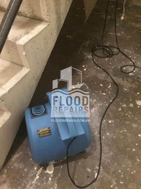 cleaning floor during Flood Restoration & Repairs job