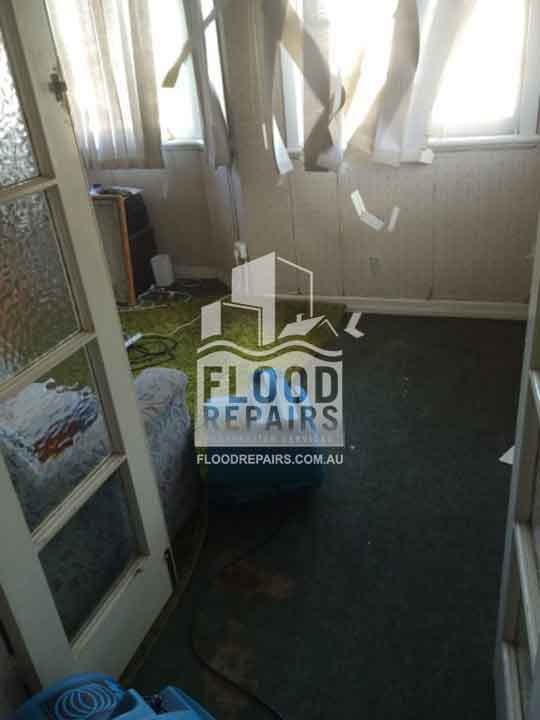 damage after flood before flood repairs job